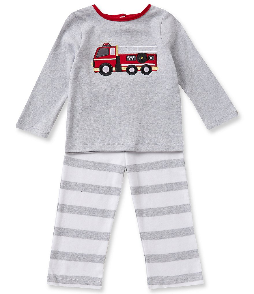Starting Out Baby Boys 12-24 Months Firetruck-Appliquéd Top and Striped Pull-On Pants Set