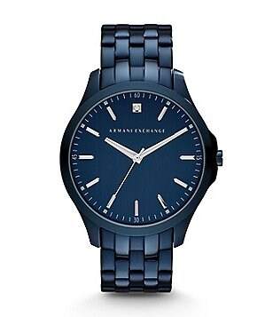 AX Armani Exchange Smart Three Hand Blue IP Stainless Steel Bracelet Watch with Genuine Diamond