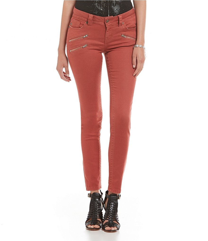 Miss Me Zipper Detail Color Skinny Jeans