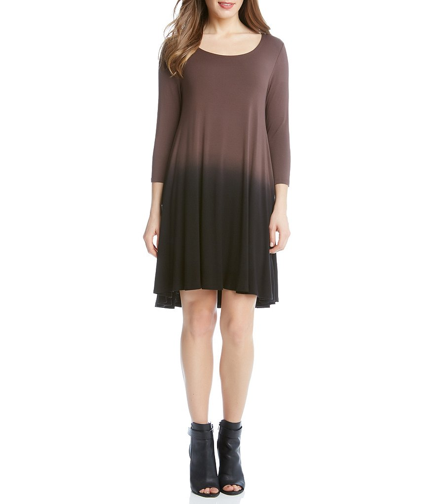 Karen Kane Ombre 3/4 Sleeve Hi-Low Maggie Dress