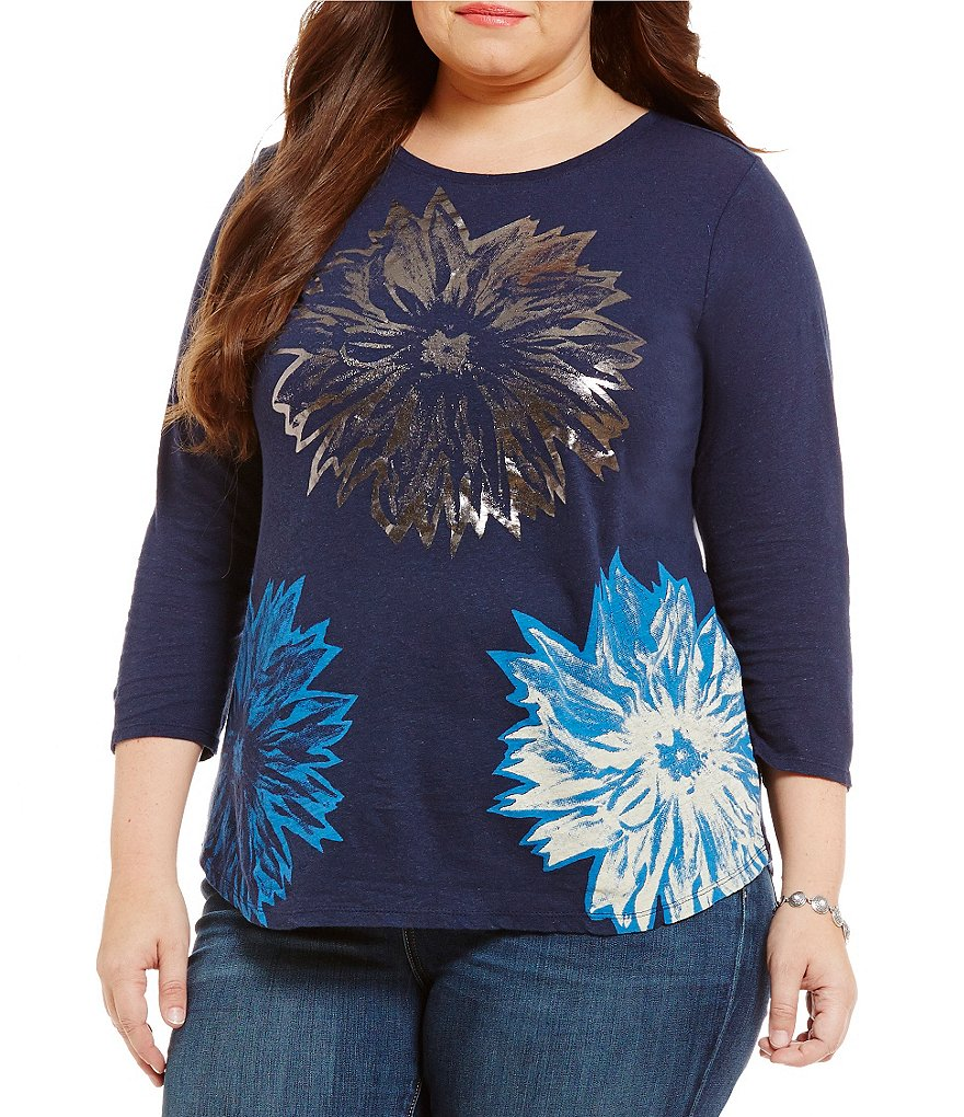 Lucky Brand Plus Halftone Flower Metallic Tee