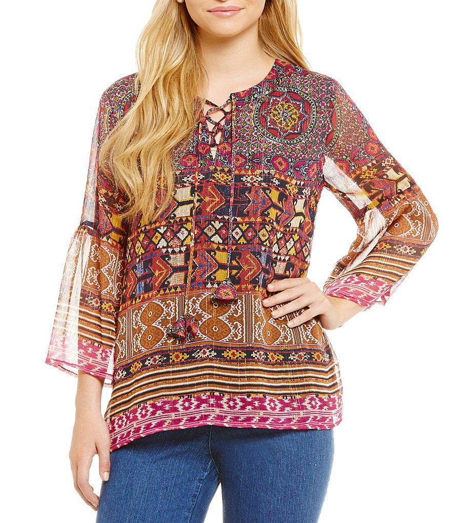 Ruby Rd. Bell Sleeve Mixed Print Peasant Top