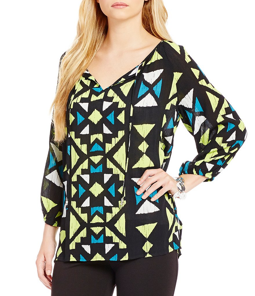 Ruby Rd. Split-Neck Printed Crepon Printed Peasant Top