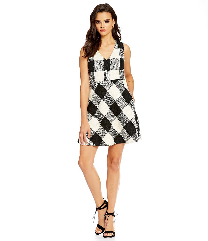 devlin Fanny Plaid Fit-and-Flare Sleeveless Dress