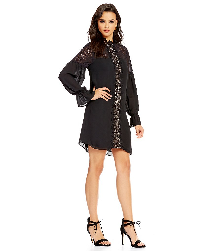devlin Sims Long Sleeve Mock Neck Shift Dress