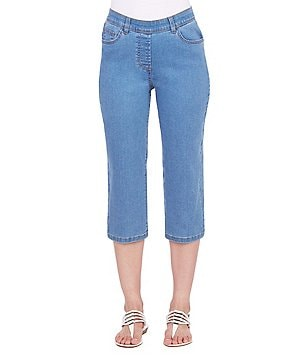 Allison Daley 5-Pocket Pull-On Stretch Denim Capri
