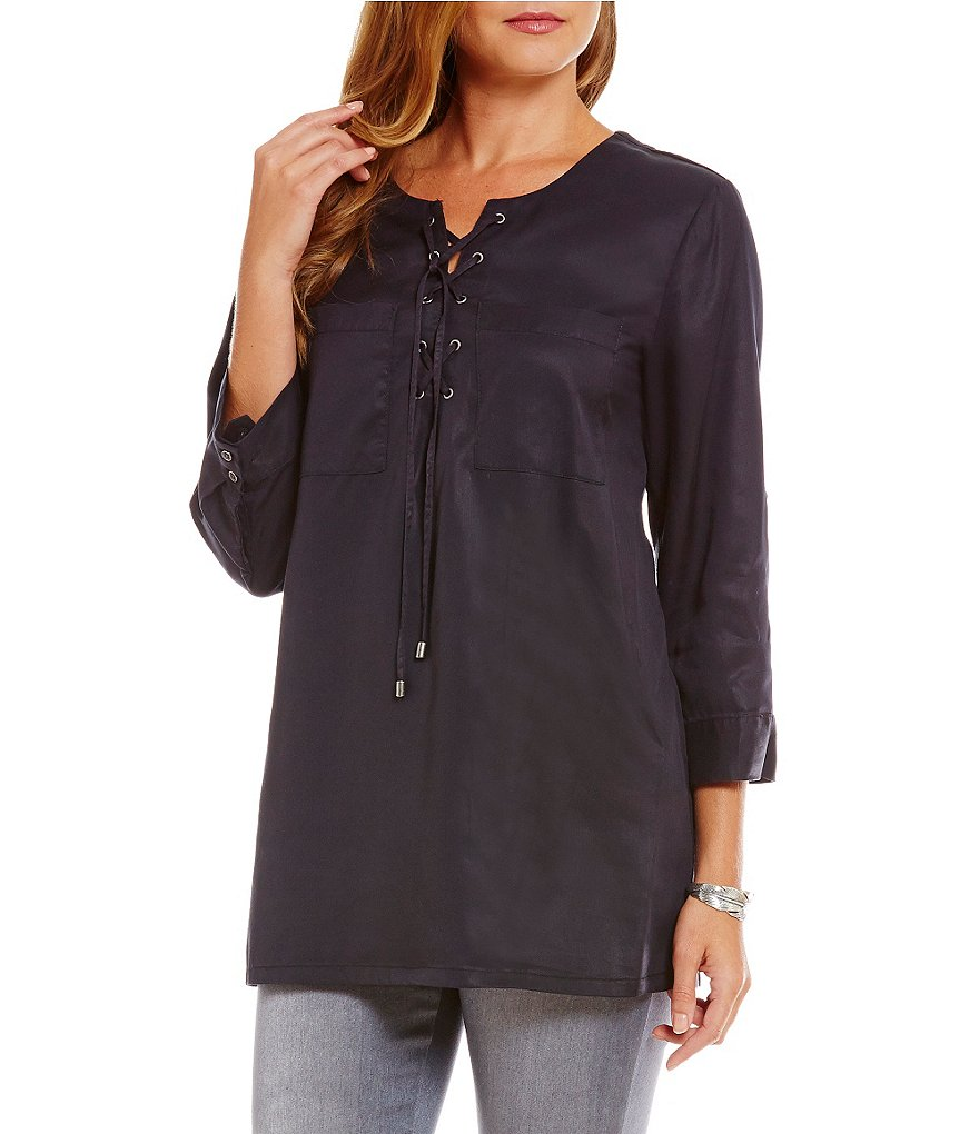 Intro Solid Lace-Up Lyocell Top