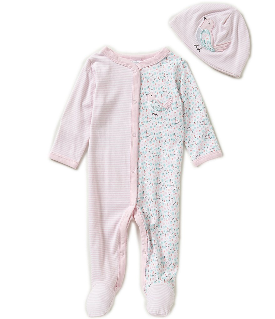 Starting Out Baby Girls Newborn-6 Months Bird-Appliqued Stripe Footed Coverall