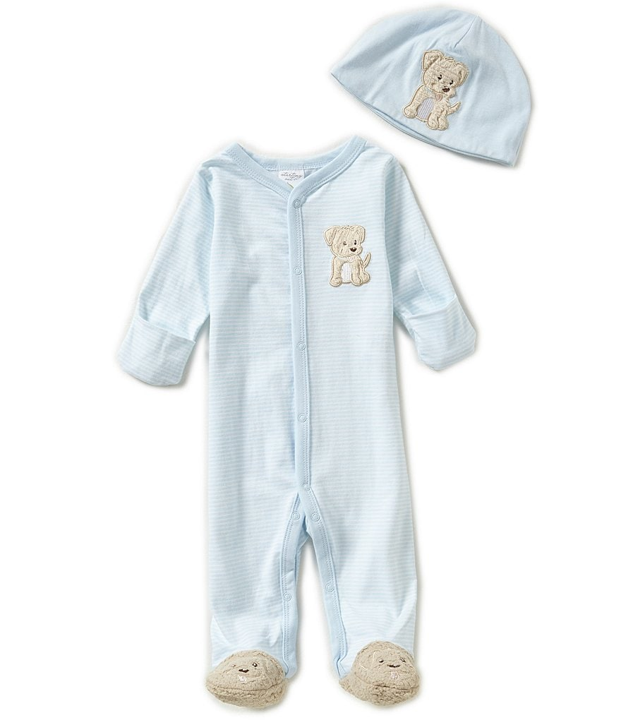 Starting Out Baby Boys Newborn-6 Months Striped Footed Coverall and Hat Set