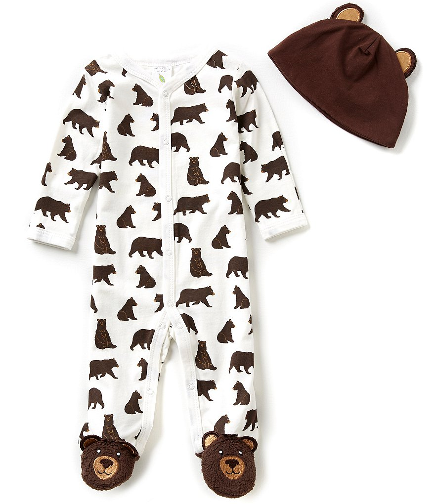 Starting Out Baby Boys Newborn-6 Months Bear Printed Footed Coverall & Hat Set