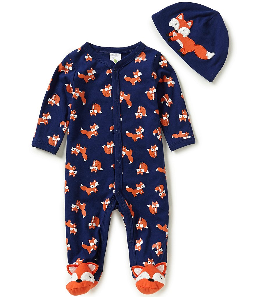 Starting Out Baby Boys Newborn-6 Months Fox-Print Footed Coverall & Hat Set