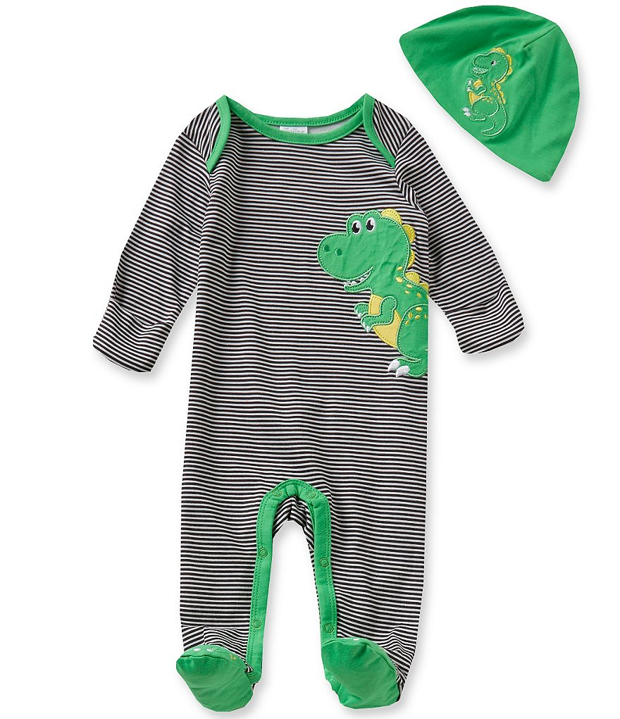 Starting Out Baby Boys Newborn-6 Months T-Rex-Appliqué Striped Footed Coverall & Hat Set