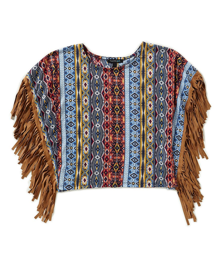 Takara Big Girls 7-16 Fringed Tribal Poncho Top