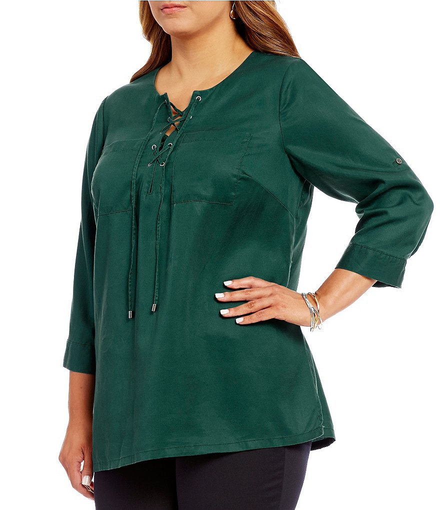 Intro Plus Solid Lace-Up Neck 3/4 Sleeve Lyocell Top
