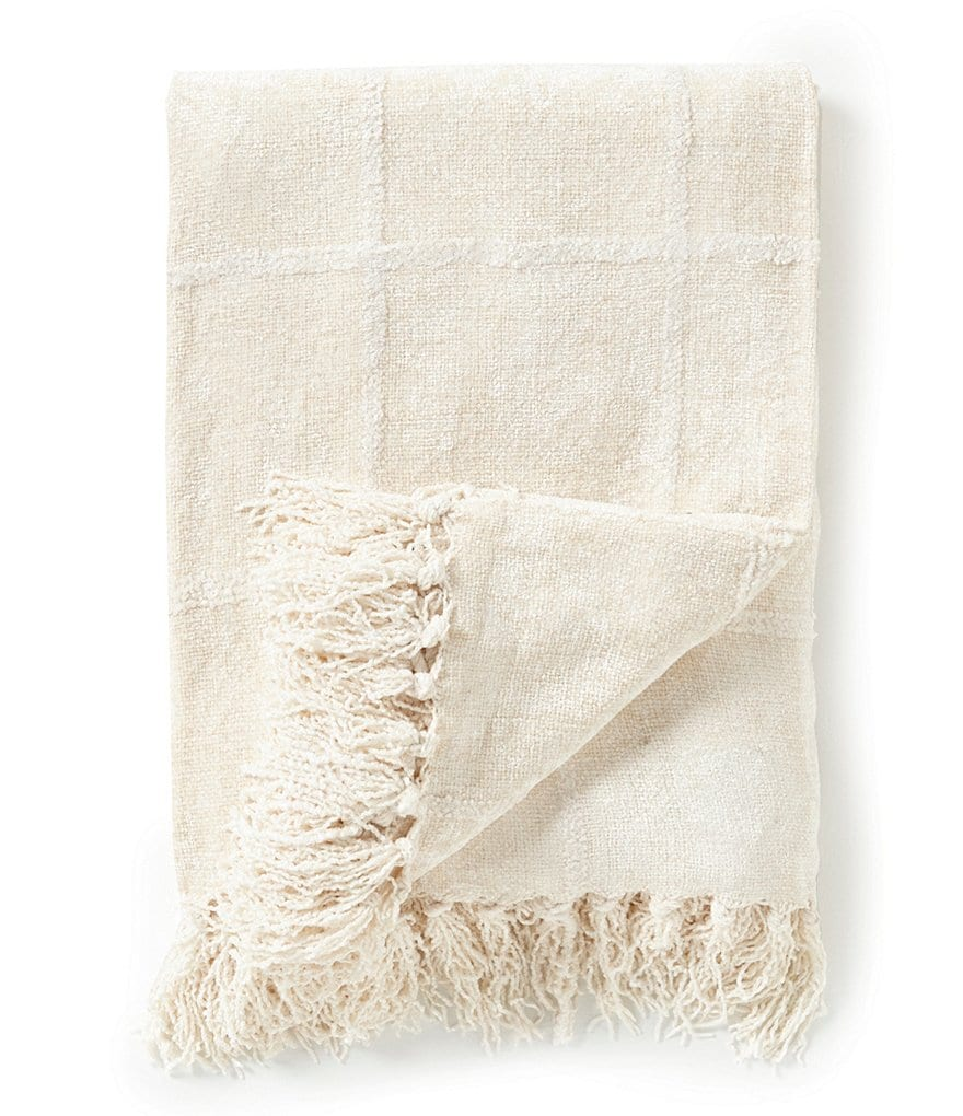 Noble Excellence Nature's Neutrals Fringed Chenille Jacquard Windowpane Throw