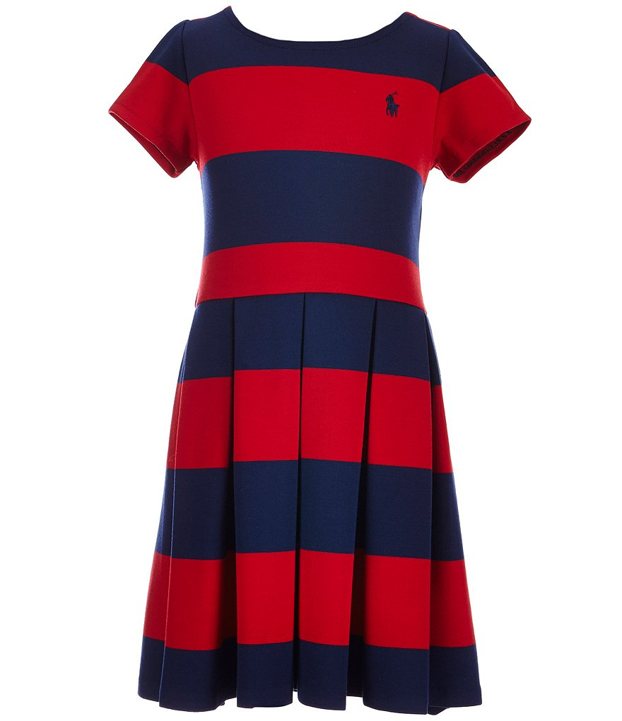 Ralph Lauren Childrenswear Big Girls 7-16 Striped Ponte Skater Dress