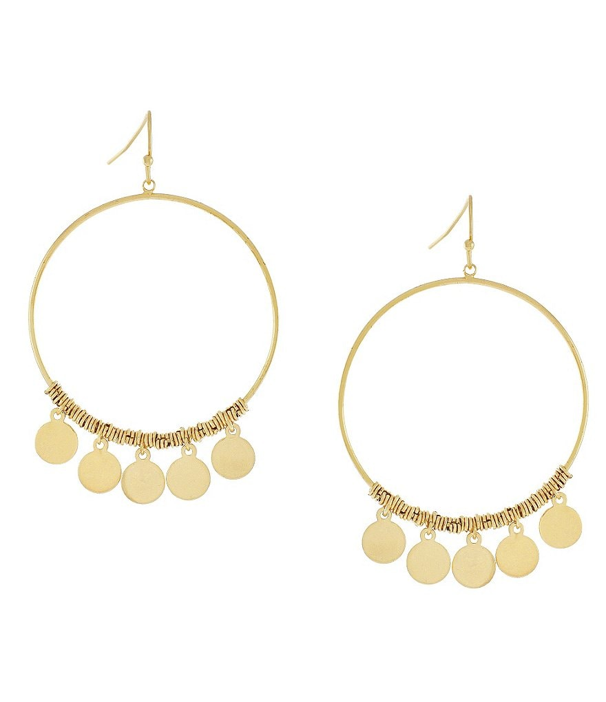 Bcbgeneration Gypsy Coin Chain Link Hoop Earrings