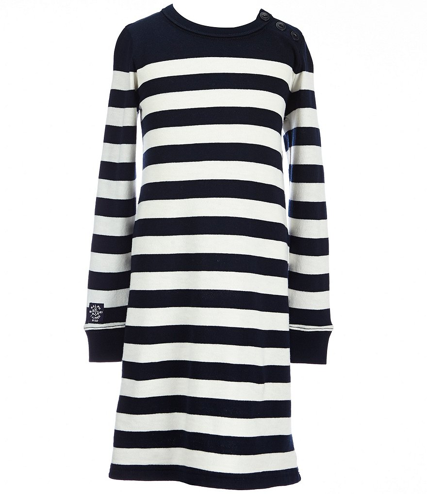 Ralph Lauren Childrenswear Big Girls´ 7-16 Nautical Striped Terry Dress