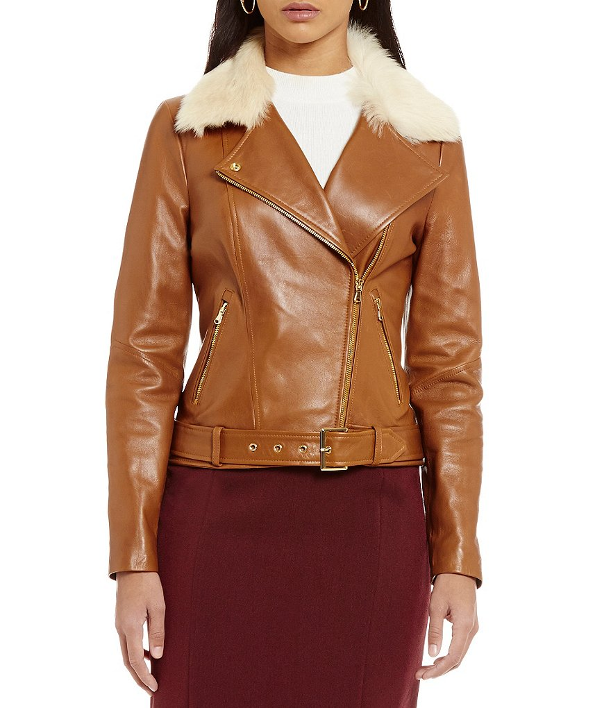 Katherine Kelly Lilly Leather Jacket with Authentic Lamb Shearling Collar