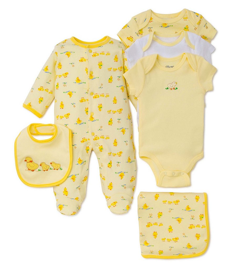 Little Me Newborn-9 Months Duckie Footed Coverall Bib Set, 3 Pack Bodysuits & Blanket