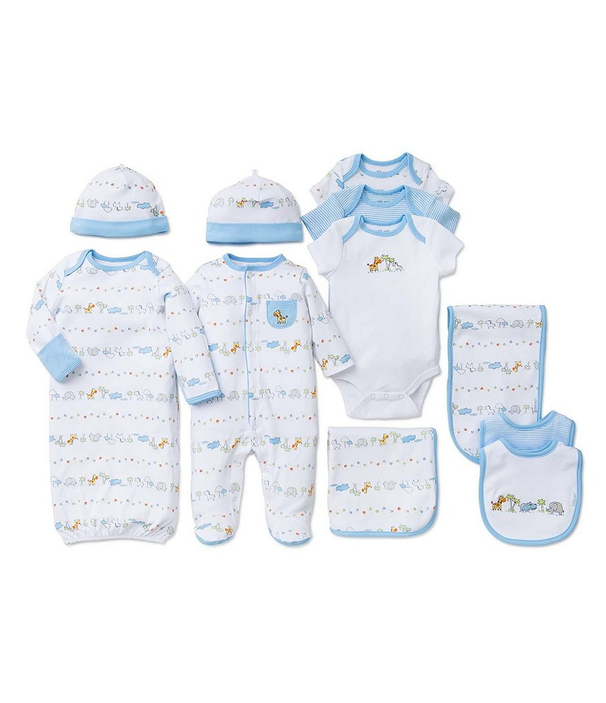 Little Me Baby Boys Preemie-9 Months Footed Coverall/Hat Set, Gown, Bodysuit & Bib/Burpcloth Collection