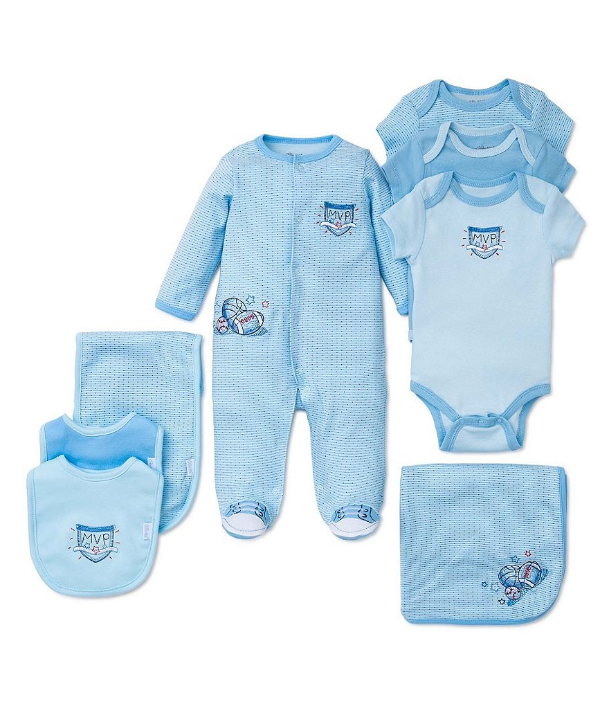 Little Me Baby Boys Preemie-9 Months Sports MVP Bib, Bodysuits, Blanket, & Footie Collection