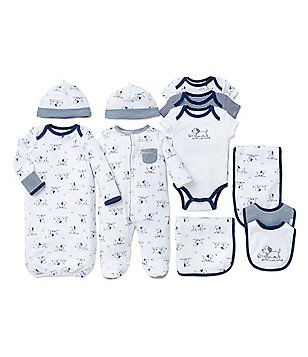 Little Me Baby Boys Preemie-9 Months Footed Coverall/Hat Set, Gown, Bodysuit & Bib/Burpcloth Set