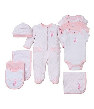 Little Me Baby Girls Preemie-9 Months Prima Ballerina Footed Coverall & Hat Set, Blanket, Bodysuit, Bib