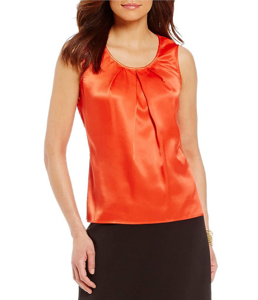 Kasper Charmeuse Pleat Neck Camisole Top