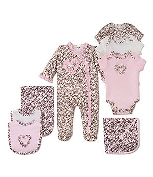 Little Me Baby Girls Newborn-9 Months Leopard Footie Pajamas, Bodysuit, Blanket, Bib