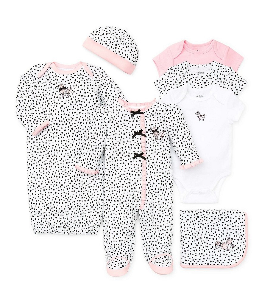 Little Me Newborn-3 Months Perfect Poodle Gown & Hat Set, Blanket, Bodysuit, Footies Collection