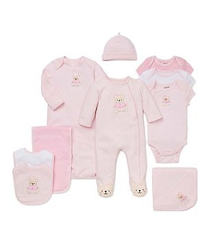 Little Me Baby Girls Preemie-12 Months Footed Coverall, Blanket, Bib/Burpcloth Set, Gown & 3 Pack Bodysuit