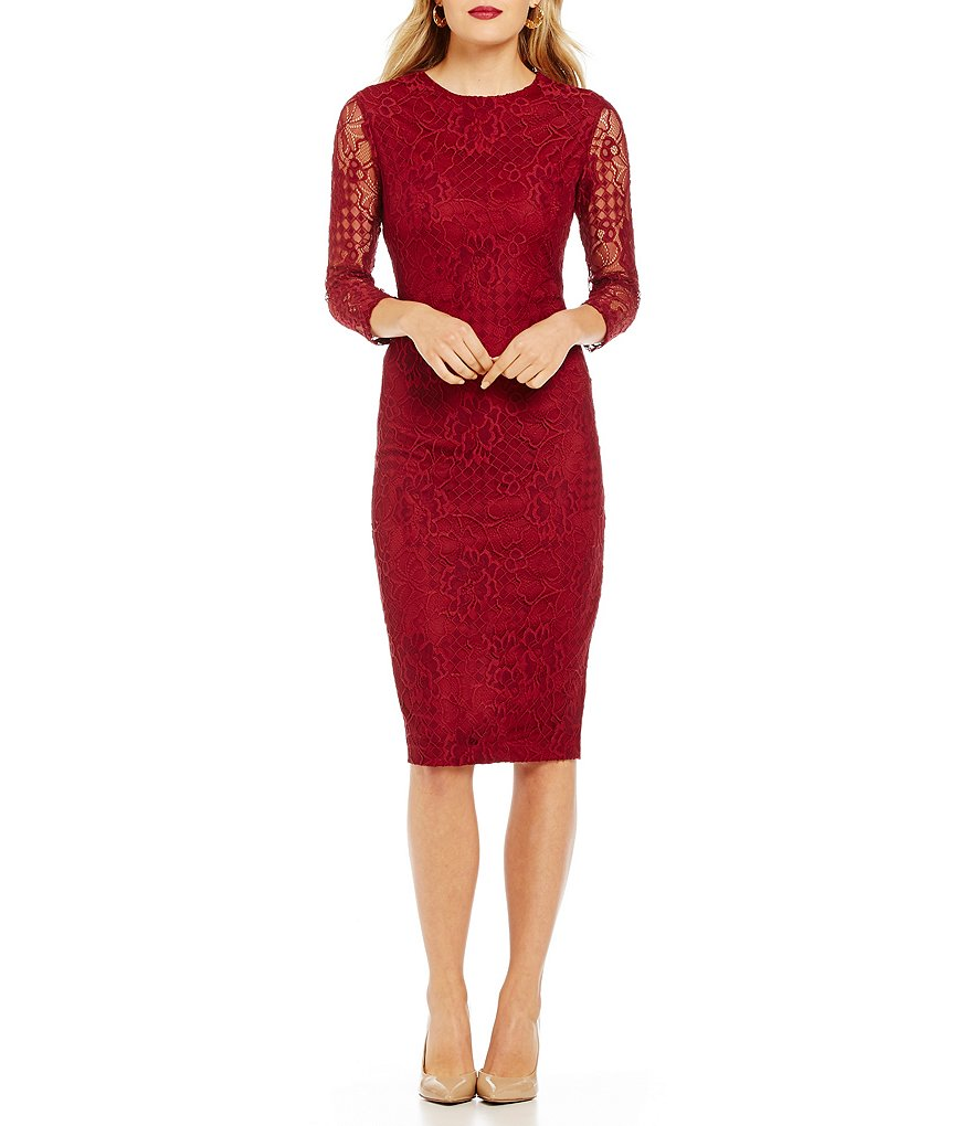 Jessica Simpson Floral Lace Midi Dress