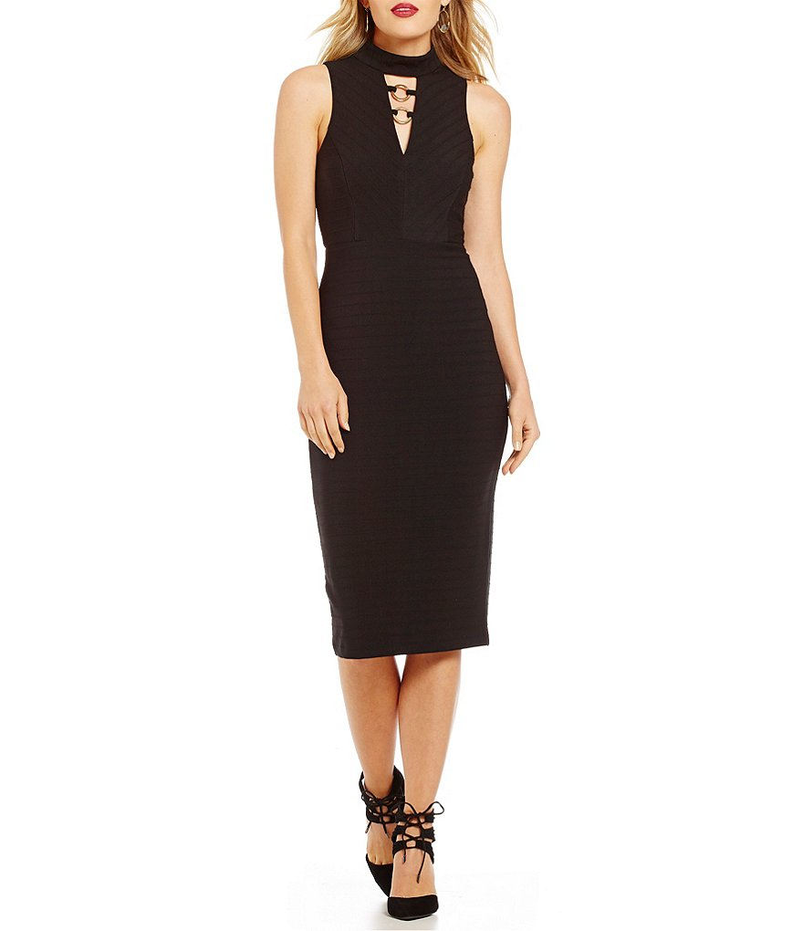 Jessica Simpson Hardware Bar-Neck Midi Bandage Dress
