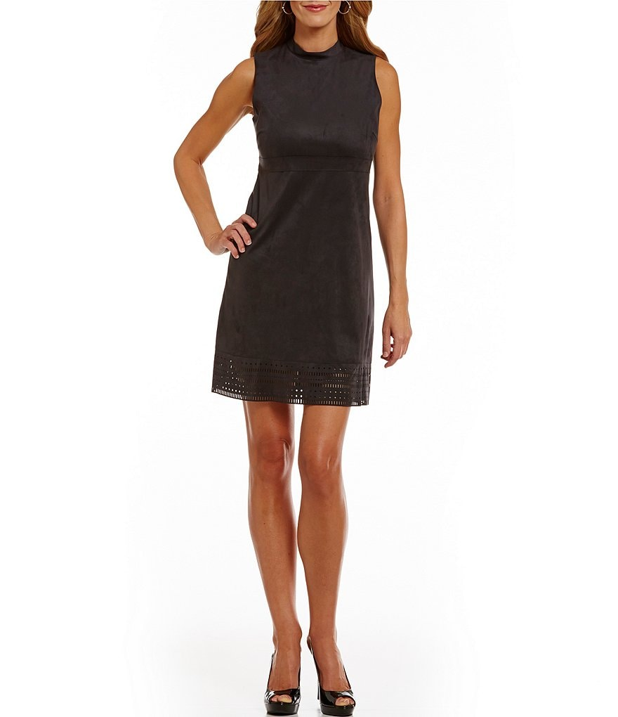 Jessica Simpson Mock Neck Faux Suede Laser Cut Hem Dress
