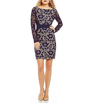 Jessica Simpson Long Sleeve Bonded Lace Dress