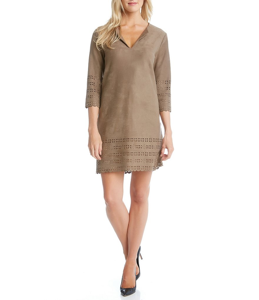 Karen Kane Laser-Cut Faux-Suede Shift Dress