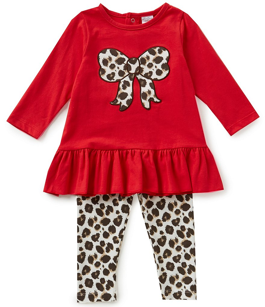 Starting Out Baby Girls 12-24 Months Ruffled Bow Tunic & Leopard-Print Leggings Set