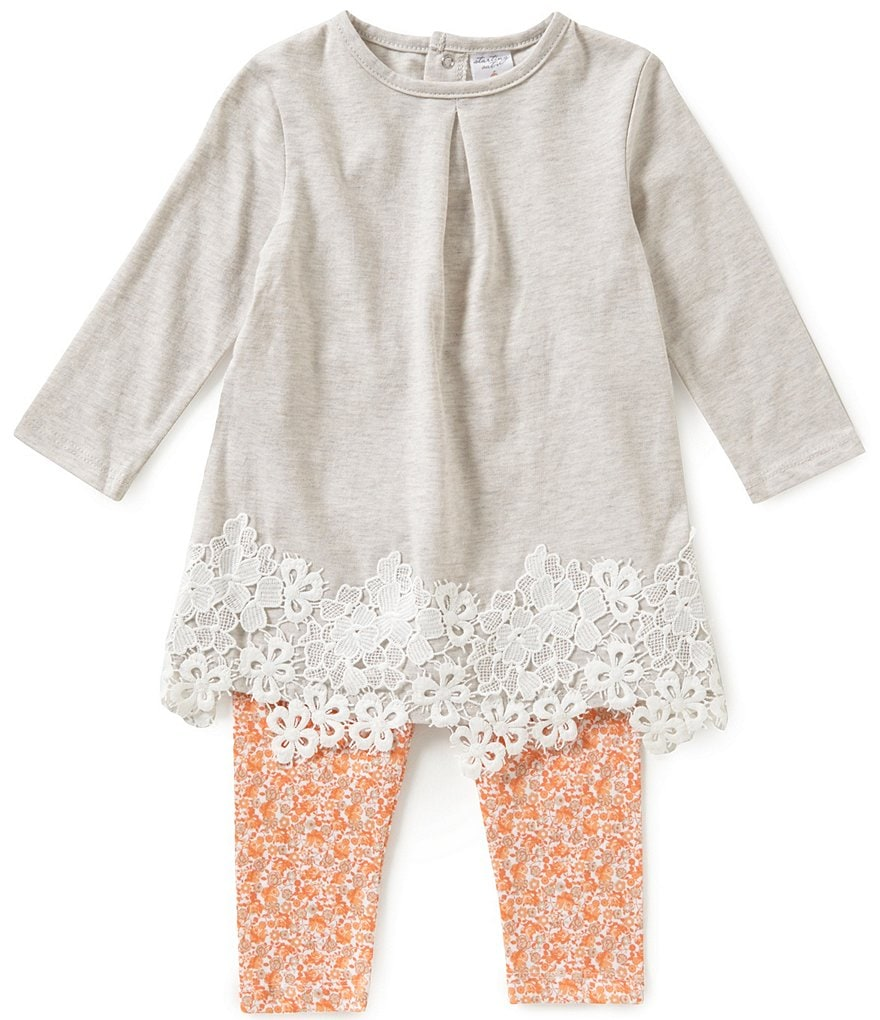 Starting Out Baby Girls 12-24 Months Crochet-Trimmed Top & Floral Leggings Set
