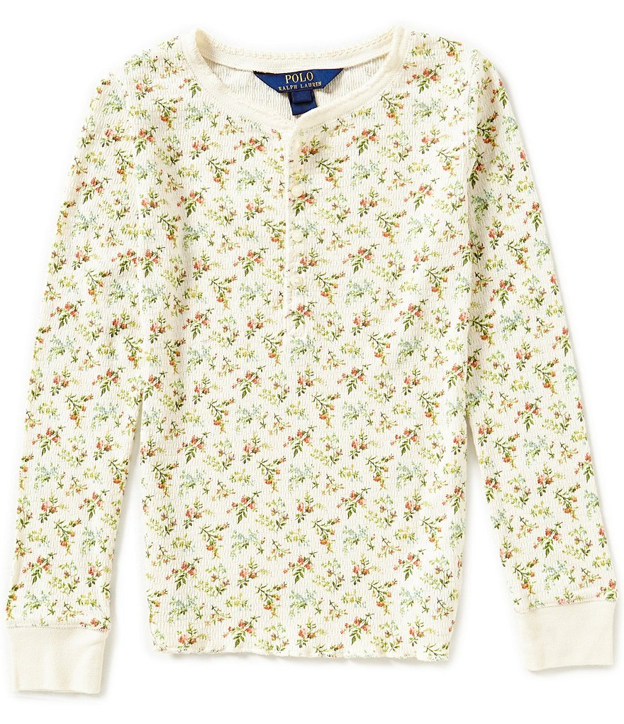 Ralph Lauren Childrenswear Big Girls 7-16 Vintage-Inspired Floral-Printed Knit Henley Tee