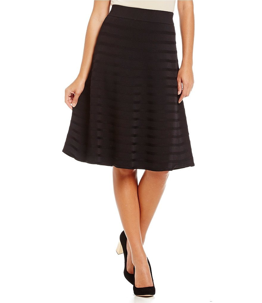 Calvin Klein Ribbed Stripe A-Line Knit Skirt