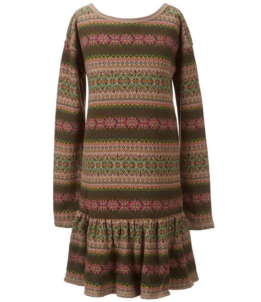 Ralph Lauren Childrenswear Big Girls 7-16 Mixed-Media Fleece Dress