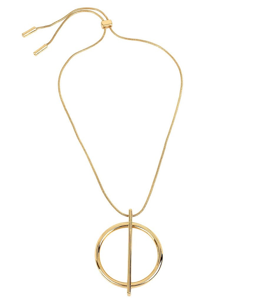 Kenneth Cole New York Geometric Circle Pendant Adjustable Slider Necklace
