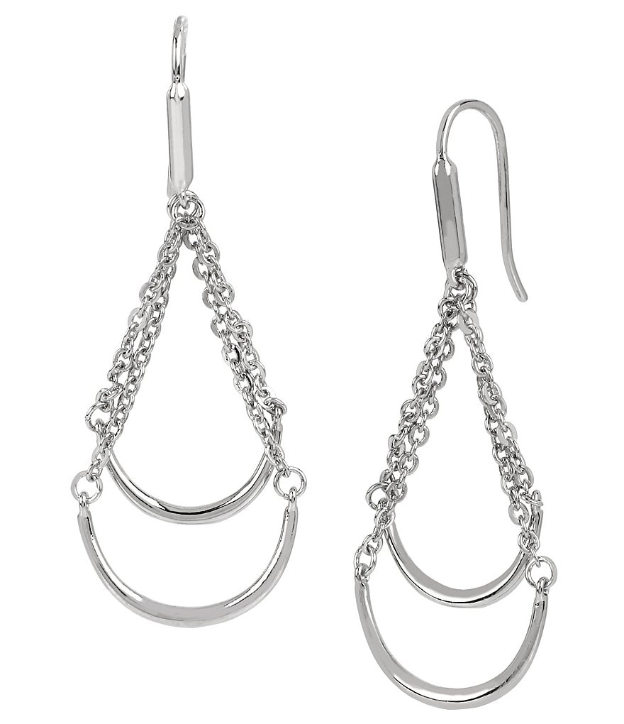 Kenneth Cole New York Double Bar and Chain Chandelier Earrings