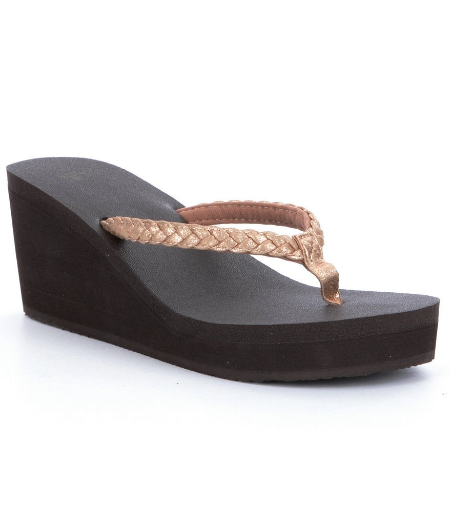Sanuk Yoga Braided Wedge Metallic Flip Flops