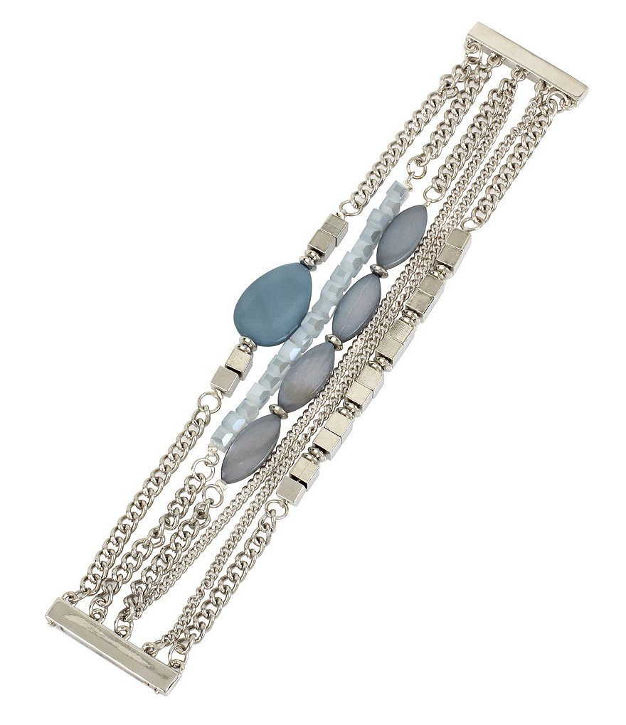 Kenneth Cole New York Mixed Shell Stone Multi-Row Chain Bracelet