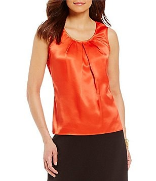 Kasper Petite Charmeuse Pleat Neck Camisole Top
