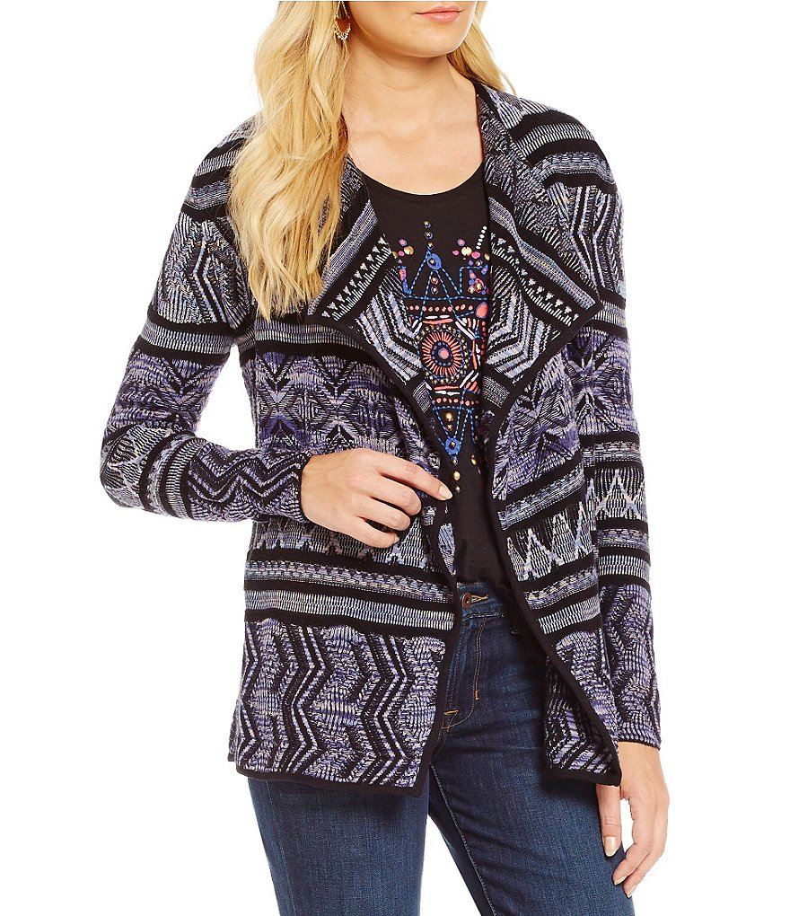 Lucky Brand Open Front Printed Lotus Sweater Cardigan