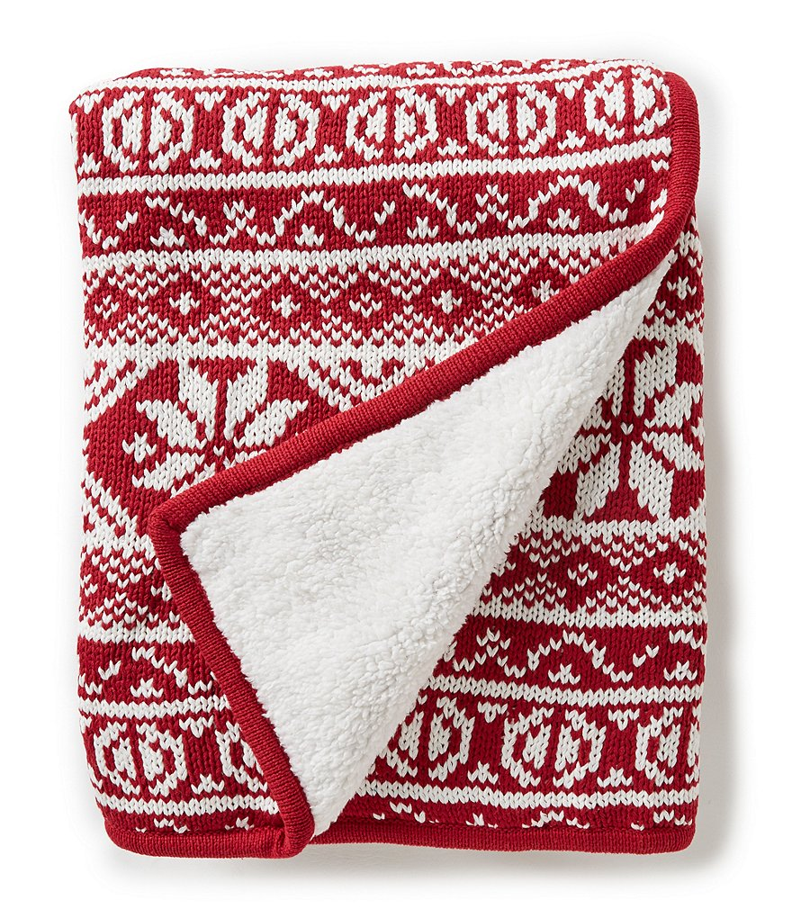Noble Excellence Fair Isle Chunky Knit & Faux-Sherpa Throw