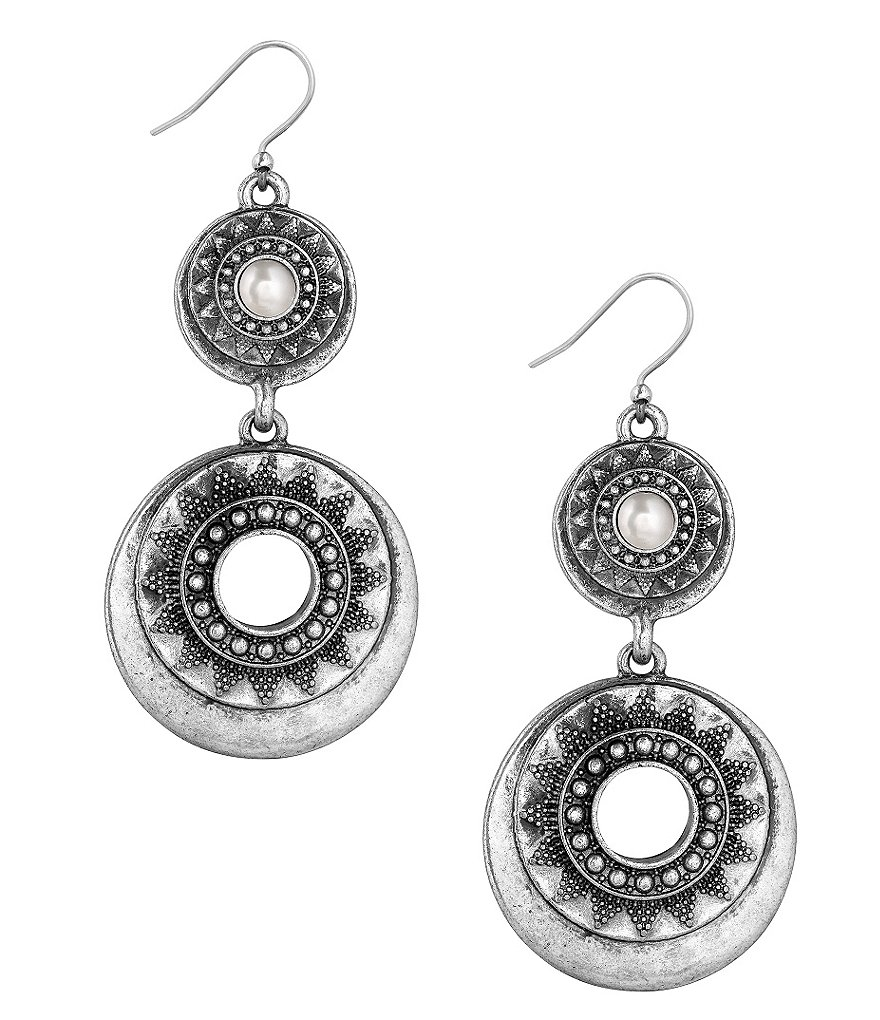 Lucky Brand Pearl Bali Statement Drop Earrings